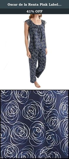 Oscar de la Renta Pink Label Women's Two-Piece Charmeuse Pajama Set, Navy Roses, X-Large. Floral printed car me use pajama with georgette ruffle.