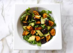 Roasted Eggplant Recipe with Arugula and Avocado Salad