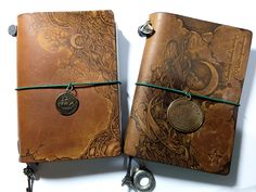 Pyrography on leather notebook cover. Midori traveler's notebook customize.  (5th Anniversary Traveler's Star Edition passport size) - snowdeer