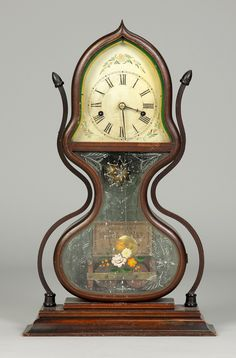 Learn more about Rare JC Brown, Bristol, CT, Acorn Shelf Clock available at Cottone Auctions. Painted Metal, Painted Signs, Colonial Furniture, Time Clock, Antique Clocks, Metallic Paint, Acorn, Bristol, Art Decor