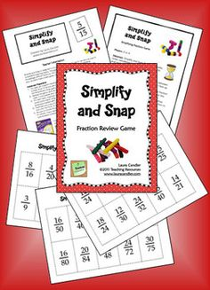 $ Simplify and Snap is a fun game for reviewing the basic skill of simplifying fractions. Students can play the game with a partner, in math centers, or in cooperative learning teams. (Grades 3 - 5)