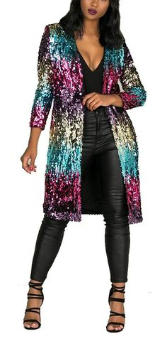 8a79d4136d0 Fashion Cluster Women's Autumn Cover Up Long Sleeve Sequins Metallic Open  Front Cardigan Coat