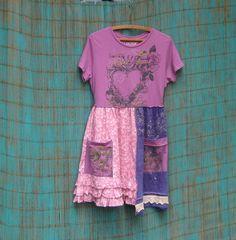 Upcycled TShirt Dress Babydoll Dress Short sleeved by AnikaDesigns, $48.00