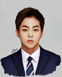 Xiumin by 그냥시 on FanBook Exo Xiumin, Kpop Exo, Exo Anime, Exo Fan Art, Exo Lockscreen, Kpop Drawings, Xiuchen, Exo Korean, K Pop Star