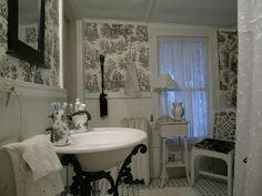 black toile bath or powder room...LOVE the sink!