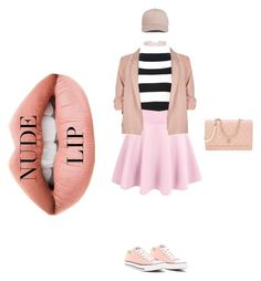 """""""nude lip"""" by cherrytops on Polyvore featuring beauty, Jouer, Boutique Moschino, River Island, Converse, Humble Chic and Chanel"""