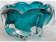 Mid Century Czech Chalet Lorraine Teal Art Glass Bowl on eBay!