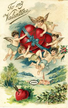 Adorable cherubs flying with hearts. One of more than 100 #vintage victorian-era #valentines available from piddix for licensing. PDXC8363