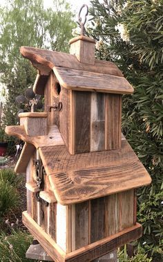 Two story rustic birdhouse with two cupolas & 3 nesting boxes. Cool Bird Houses, Wooden Bird Houses, Decorative Bird Houses, Bird House Plans, Bird House Kits, Jardiniere Design, Homemade Bird Houses, Bird House Feeder, Rustic Bird Feeders