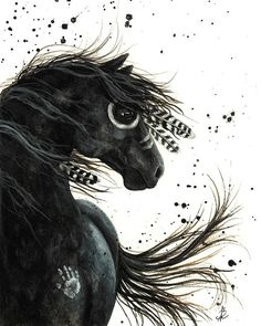 Majestic Friesian Painting by AmyLyn Bihrle. Gouache on Watercolor paper