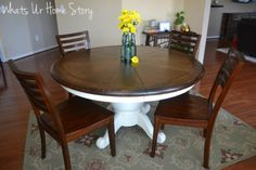 Walnut stained top, chalk paint bottom.  Need to refinish our dining room table. Liking this look, but with white chairs.