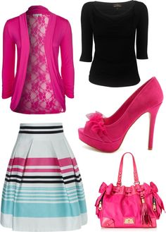 """Pink stripes."" by kristina-norrad ❤ liked on Polyvore"