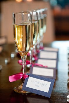 seating ideas The champaign is the touch of gold and the card is royal... Would look pretty and simple for the two of you and the wedding party...mothers and that. And we could easily etch their initial as a gift...