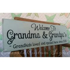 Welcome to Grandma and Grandpa's hand painted sign by Emerald Custom Signs on Etsy.