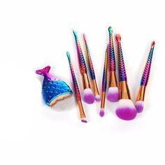8Pcs Mermaid Shaped Makeup Brushes Set-Beautify Sweden
