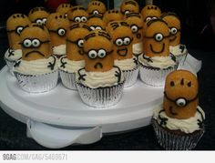 : O  Homemade Despicable Me Cupcakes.  They look so easy!  Just half a twinkie on top of a cupcake and decorate.  GENIUS!