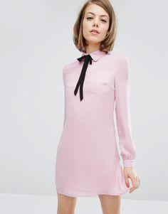 Size 2 Fashion+Union+Shirt+Dress+with+Tie+Neck