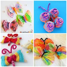 Happy, colorful and simple BUTTERFLY CRAFTS FOR KIDS. Use paper plates, paper bags, washi tape, felt and more for a fun spring craft.