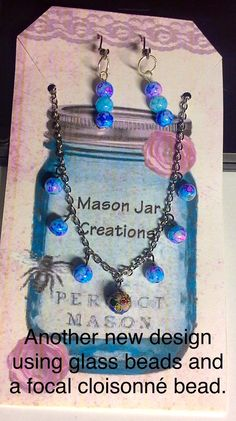 New necklace & earring set. This one uses a cloisonné focal bead and surrounding glass beads.