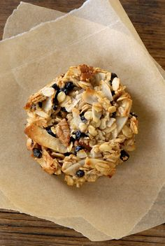 Blueberry Coconut Pecan Breakfast Cookies -   gluten-free rolled oats, coconut flakes, flaxmeal, salt, pecans, dried blueberries, ripe bananas, coconut oil, 1 Tbl agave, vanilla