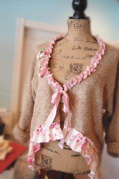 Etsy Transaction - Boyfriend Sweater Upcycled Brown Heather Tweed Wool Mix Shabby Girl Rustic Boho Vintage GAP Silk Tatters Altered Tanya Whelan XL