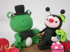 Custom Frog & Ladybug Love Wedding Cake Topper Hand by Garden4Arts, $69.00