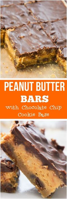 Peanut butter bars. Easy dessert recipe with chocolate chip cookie base followed by a creamy peanut butter filling and topped with chocolate. These would make a great Christmas dessert.