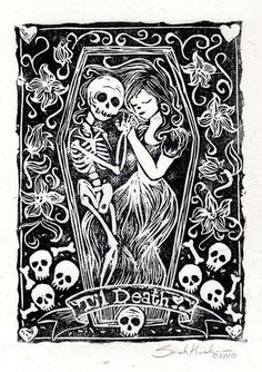 Til Death  Lino Block Print by dynamiterose77 (Sarah E. Kushner)  on Etsy, $30.00