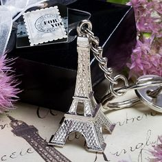 Inexpensive Eiffel Tower Key Chain French and Travel Theme Wedding Favors! affordableelegancebridal.com
