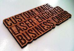 Custom made laser-engraved wood business cards from Proper Recognition (www.properrecognition.com)