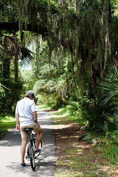 Kiawah Island, South Carolina. It has 30 miles of paved bike trails. I can't wait. I'm getting a bike this summer, and looking forward to riding at Kiawah Island.