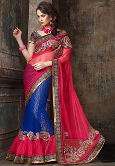 Pink and Blue Net Saree with Blouse Online Shopping: SFV15