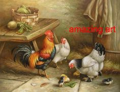 Hen and Rooster Painting Rooster Painting, Hand Painting Art, Painted Books, Hand Painted, Chicken Painting, Hen Chicken, Rooster Decor, Chickens And Roosters, Galo
