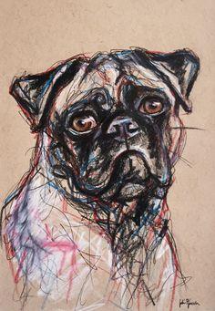 Pico the Pug Pet Portrait Expressive Sketch using Pencil, Pen, and Colored Pencil on Tan Toned Paper