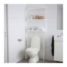 IKEA - DYNAN, Open Storage, fits perfectly over your toilet and transforms . Toilet Storage, Small Bathroom Storage, Bathroom Shelves, Bathroom Organization, Storage Spaces, Boho Bathroom, White Bathroom, Bathroom Ideas, Shower Bathroom