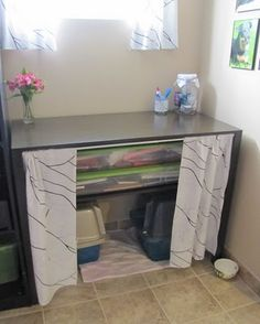great idea to hide litter boxes