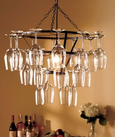 #Wine Glass Chandelier - stay simple with a set or show off you colorful glasses!