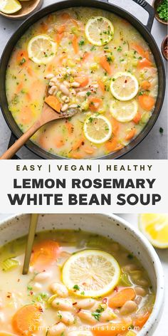 May 2020 - Easy White Bean Soup recipe with soothing lemon, veggies, herbs and tahini is healthy and easy to make using everyday ingredients that you probably already have in your pantry! It's full of fiber, flavor and is amazingly delicious! Vegan Soups, Vegetarian Recipes, Healthy Recipes, Vegan Bean Soup, Turkey Recipes, Chicken Recipes, Bean Soup Recipes, Diet Soup Recipes, Recipe For Soup