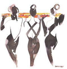 #watercolor #illustration by #bildonovan #fashion #ladies #dress #black