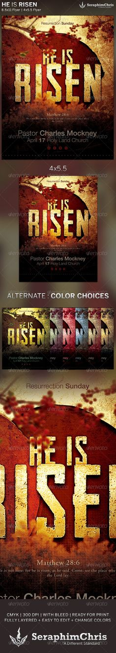 He is Risen: Church Flyer Template is designed for church events and sermons that revolve around the resurrection of Jesus Christ. This premium flyer design is constructed to give the highest dynamic quality when printed or posted to social media sites and other formats. This file is exclusive to graphicriver.net