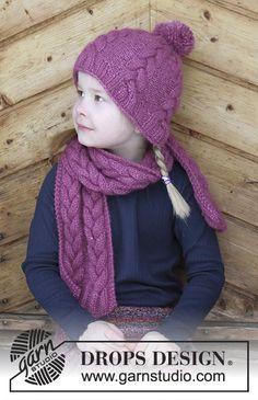 Berry Wrap / DROPS Children 30-16 - Souprava: dětská čepice a šála s copánky pletená z příze DROPS Air. Velikost 2 – 10 let.