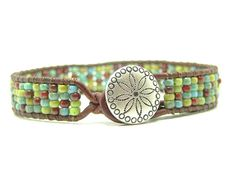 Southwestern Mixed  Seed Bead Leather Wrap Bracelet, Picasso, Single Wrap, Tribal Wrap
