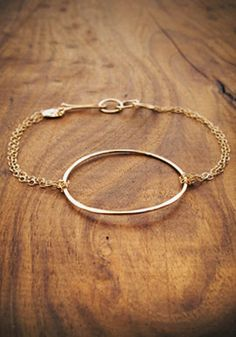 circle and chain bracelet- recycled 14 karat gold