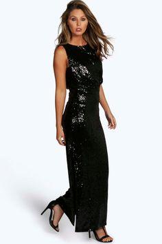 Boutique Eliza Sequin Drop Armhole Maxi Dress