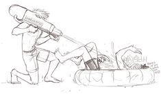 birdflash:Water Gun Fight by malin-j: cranefeathersaid:dick and wally having a water gun fight