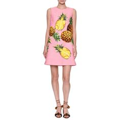 Dolce & Gabbana Pineapple-Print Sleeveless Shift Dress ($1,945) ❤ liked on Polyvore featuring dresses, pineapple dress, pineapple print dress, sleeveless dress, sleeveless shift dress and jacquard dress
