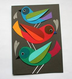 Bird card that can have a second life as wall art at mmmcrafts