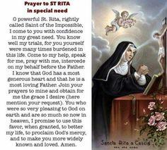 St. Rita - prayer in time of need
