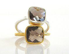 Cuarzo ahumado piedras preciosas - amortiguador corte anillo - anillo de piedras preciosas - anillo de apilamiento - plata esterlina anillo