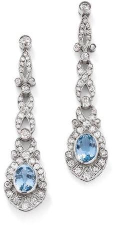 Aquamarine & Diamond Earrings.